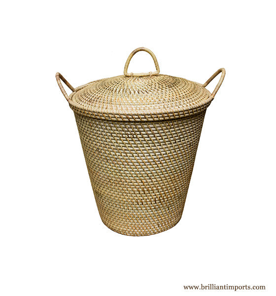 Rattan Basket with Dainty Handles & Top
