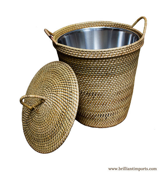 Rattan Basket with Dainty Handles & Top, with Lining
