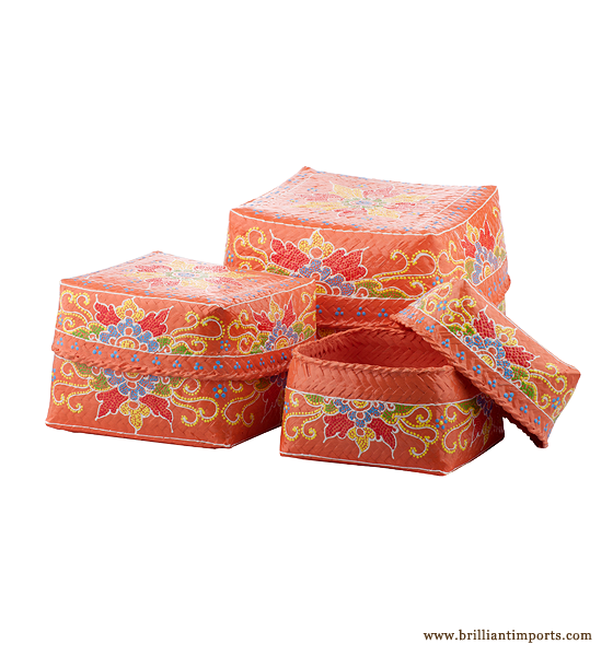 Saffron Basket Set with Floral Design