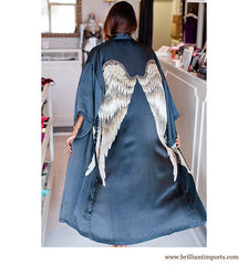 Black Silk Wing Robe