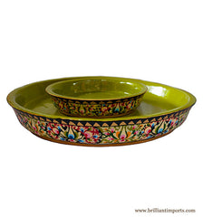 Handpainted Floral Shallow Bowl Set