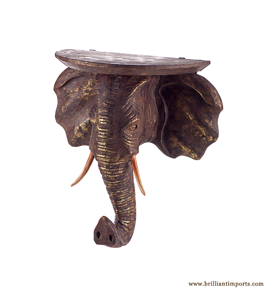{shipwrecked} Elephant Corbel, antique gold