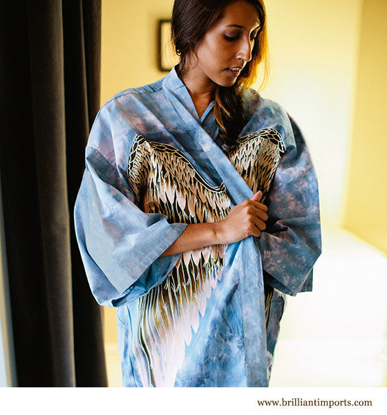 Sky Cotton Wing Robe, short