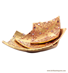 Golden Terracotta Trays, Set of 3