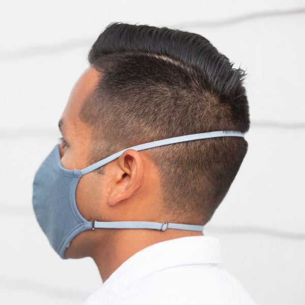 SHOLDIT Convertible Face Mask Slate Blue Back of Head