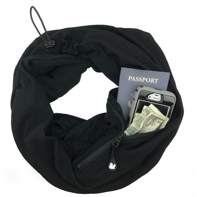 ORIGINAL Convertible Infinity Scarf with Pocket | Black