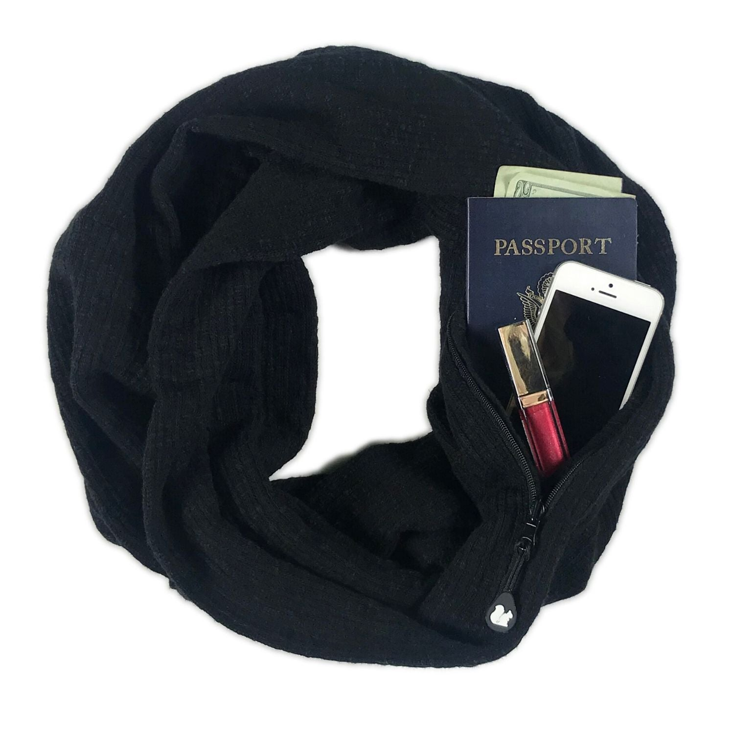 SHOLDIT Convertible Infinity Scarf with Pocket Serene Black 100% Cotton