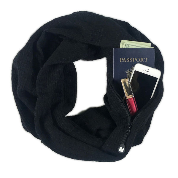 SHOLDIT Convertible Infinity Scarf with Pocket Black Cotton Blend