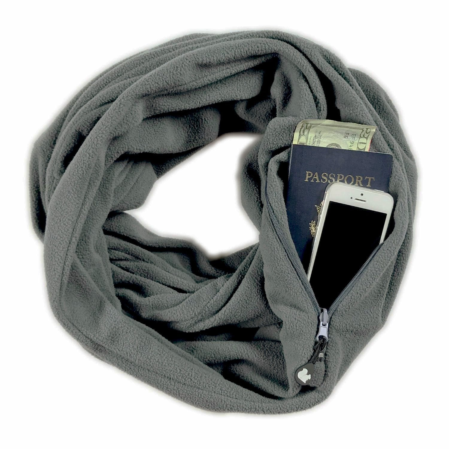 SHOLDIT Convertible Infinity Scarf with Pocket Fleece Grey
