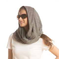 SHOLDIT Convertible Infinity Scarf with Pocket Wide Cut Haze Grey Head Scarf