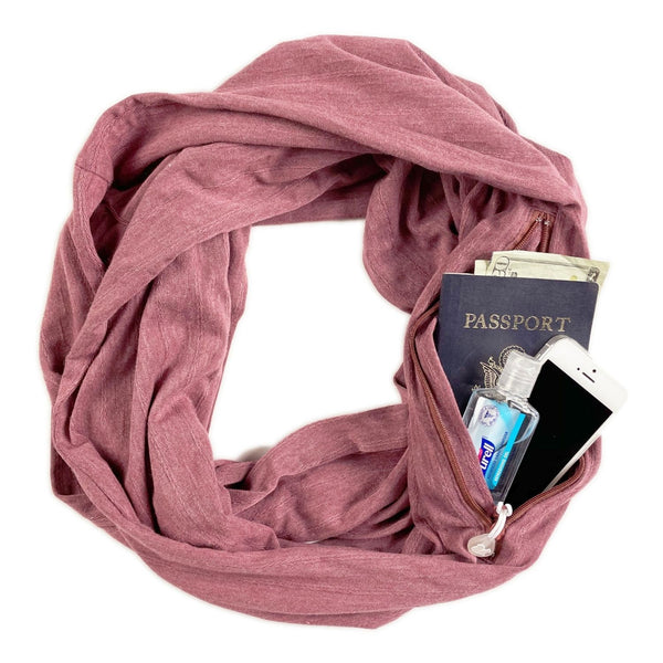 SHOLDIT Infinity Scarf with Pocket Mauve Cotton Blend Travel Accessories