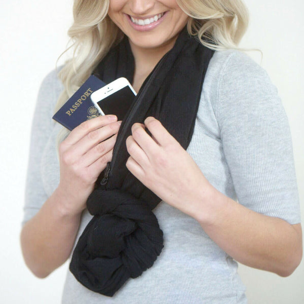 SHOLDIT Convertible Infinity Scarf with Pocket Mystic Black Knot