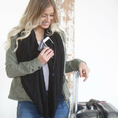 SHOLDIT Convertible Infinity Scarf with Pocket Mystic Black Travel