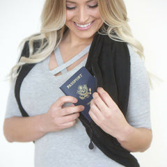 SHOLDIT Convertible Infinity Scarf with Pocket Mystic Black Shrug