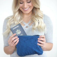 SHOLDIT Convertible Infinity Scarf with Pocket Mystic Blue Clutch