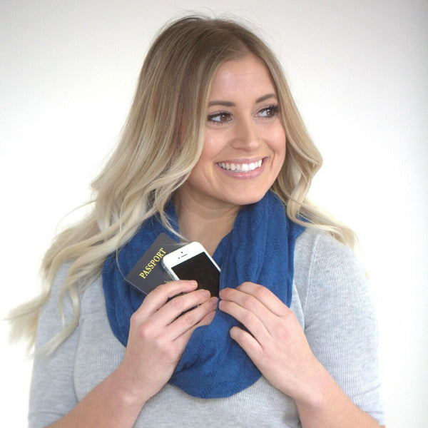 SHOLDIT Convertible Infinity Scarf with Pocket Mystic Blue Doubled