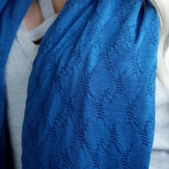 SHOLDIT Convertible Infinity Scarf with Pocket Mystic Blue Fabric Close Up