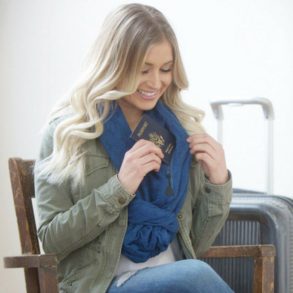 SHOLDIT Convertible Infinity Scarf with Pocket Mystic Blue Knot