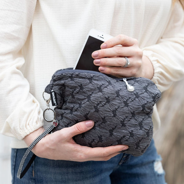 SHOLDIT Convertible Infinity Scarf with Pocket Mystic Grey Clutch