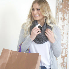 SHOLDIT Convertible Infinity Scarf with Pocket Mystic Grey Doubled for Shopping