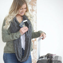SHOLDIT Convertible Infinity Scarf with Pocket Mystic Grey Travel