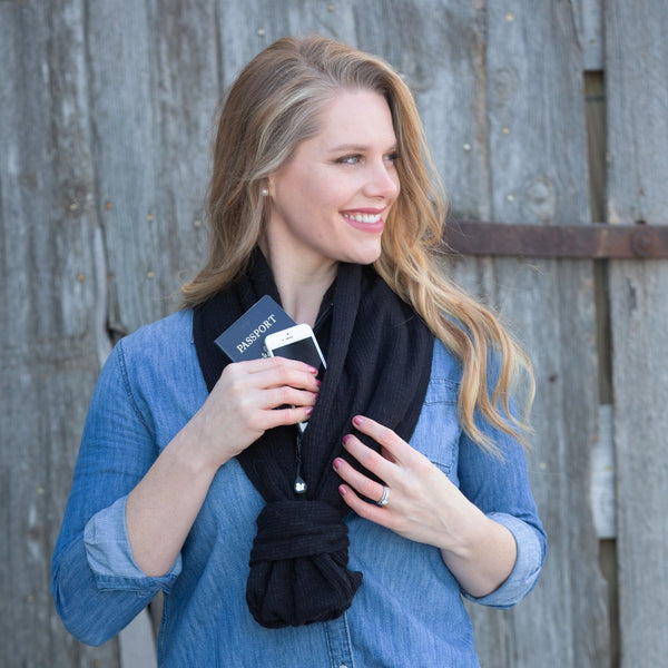 SHOLDIT Convertible Infinity Scarf with Pocket Serene Black 100% Cotton Knot