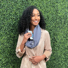 SHOLDIT Convertible Infinity Scarf with Pocket™ Terra Blue doubled