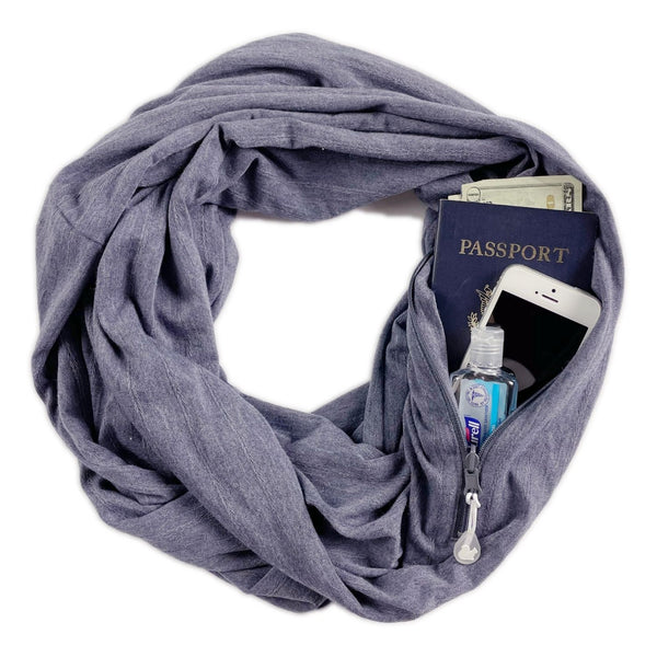 SHOLDIT Convertible Infinity Scarf with Pocket™ Terra Blue
