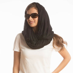 SHOLDIT Convertible Infinity Scarf with Pocket Wide Cut Haze Black Head Scarf
