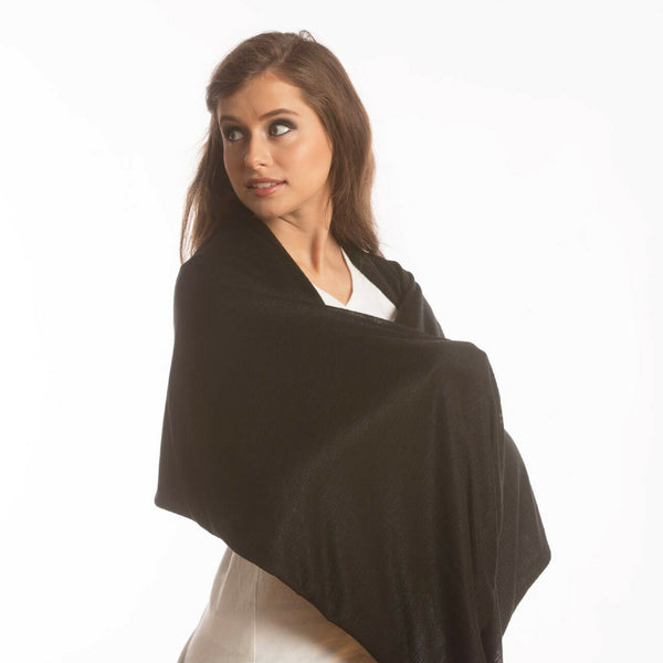 SHOLDIT Convertible Infinity Scarf with Pocket Wide Cut Haze Black Shrug
