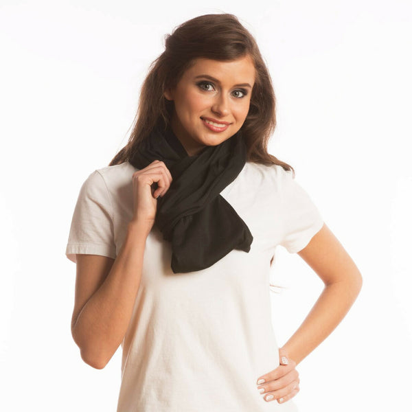 SHOLDIT Convertible Infinity Scarf with Pocket Wide Cut Haze Black Slip Knot