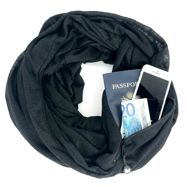 SHOLDIT Convertible Infinity Scarf with Pocket Wide Cut Haze Black