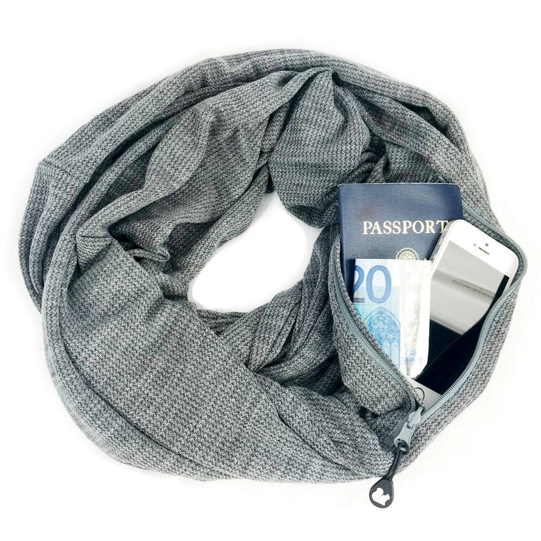 Wide Cut Convertible Infinity Scarf with Pocket | Haze Grey