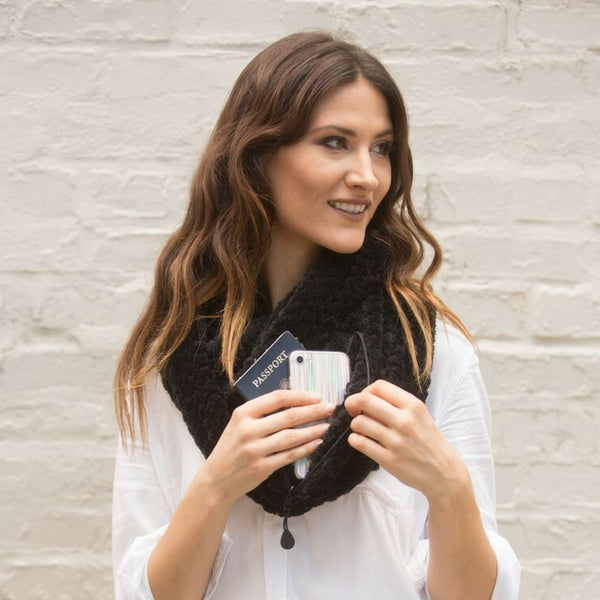 SHOLDIT Convertible Infinity Scarf with pocket Cozy Black super soft doubled