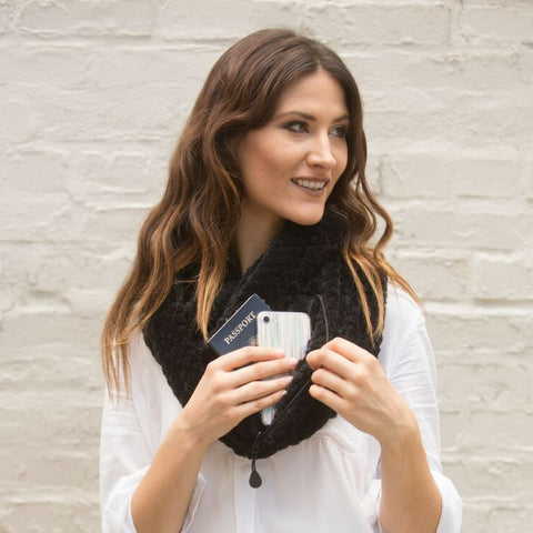 SHOLDIT Convertible Infinity Scarf with pocket Cozy Black super soft clutch