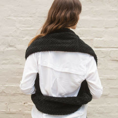 SHOLDIT Convertible Infinity Scarf with pocket Cozy Black super soft shrug back