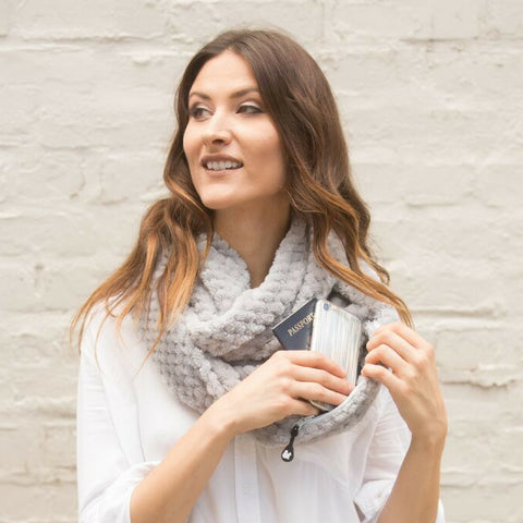 SHOLDIT Convertible Infinity Scarf with pocket Cozy Grey super soft clutch