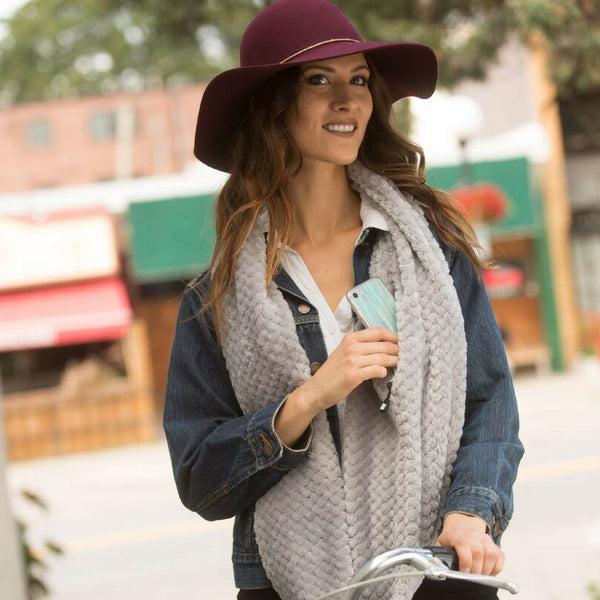 SHOLDIT Convertible Infinity Scarf with pocket Cozy Grey super soft shown shopping on bike