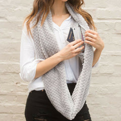 SHOLDIT Convertible Infinity Scarf with pocket Cozy Grey super soft long