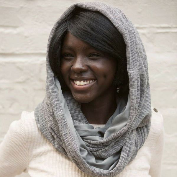 SHOLDIT Convertible Infinity Scarf with pocket Wide Cut Haze Grey as head scarf