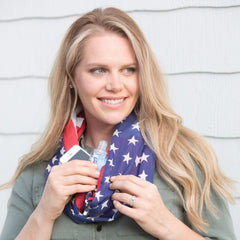 Convertible Infinity Scarf with Pocket Americana Patriotic Collection doubled