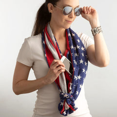Convertible Infinity Scarf with Pocket Americana Patriotic Collection Knot