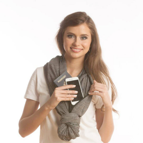 SHOLDIT Convertible Infinity Scarf with Pocket Wide Cut Haze Grey Knot