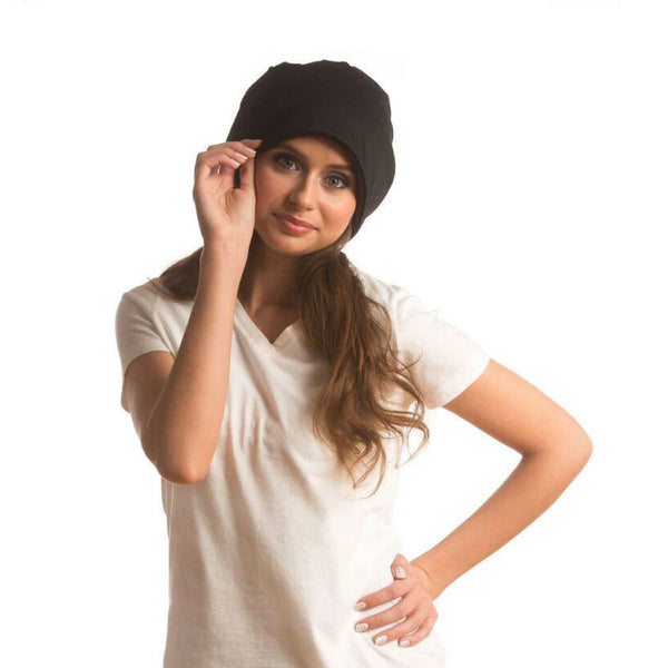 SHOLDIT Convertible Neck Gaiter with Pocket Black Beanie Hat