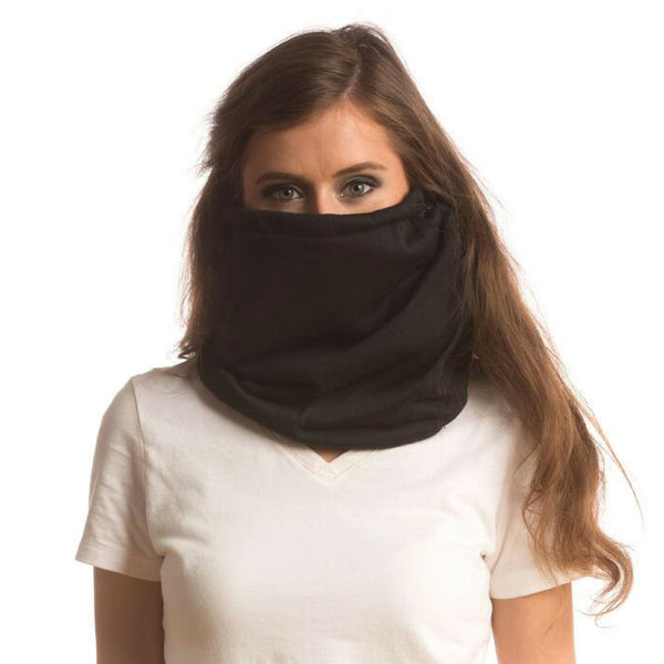 SHOLDIT Convertible Neck Gaiter with Pocket Black Face Warmer
