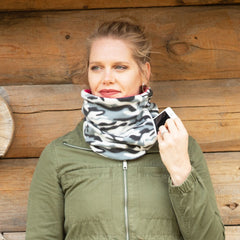 SHOLDIT Convertible Neck Gaiter with Pocket Camouflage Pink on Lady