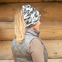 SHOLDIT Convertible Neck Gaiter with Pocket Camouflage Pink worn as hat