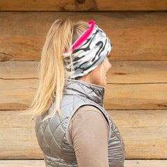 SHOLDIT Convertible Neck Gaiter with Pocket Camouflage Pink worn as ear warmer
