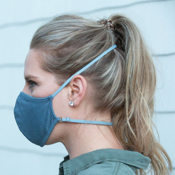 Convertible Face Mask 100% cotton slate blue unisex and youth size back of head