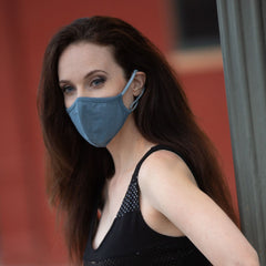 Convertible Face Mask 100% cotton slate blue unisex and youth size dressy